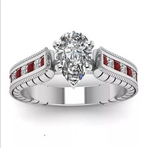 COPY - 🌹 Stunning White and Red pear Sapphire in …